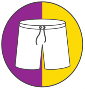 White underpants on a purple and gold field